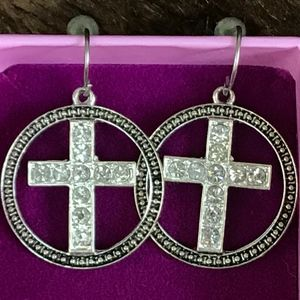 Crystal Cross in Circle French Wire Earrings